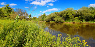 Kishwaukee River in Northern Illinois. The Kishwaukee River flows through Illinois on a beautiful day Royalty Free Stock Images