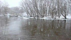 Kishwaukee zimy Rzeczna scena zbiory wideo