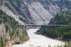 Kiskatinaw River Alaska Highway Mile 21. View of the Kiskatinaw River from the curved wooden bridge on the Alaska Highway at Historic Mile 21. Built in 1942, the stock photos