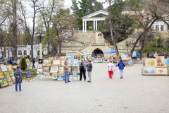 Kislovodsk. Monument Lermontov and artists on the square Royalty Free Stock Photos