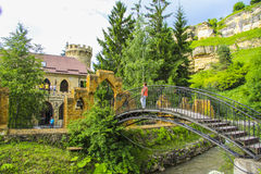 Kislovodsk. Mountain castle. Restaurant in miuntains designed in ancient style. Kislovodsk, Northern Caucasus,Russia stock image