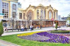 Kislovodsk. Municipal landscape. KISLOVODSK, RUSSIA - April 30.2015: Pedestrian street Resort boulevard in the historical center of resort zone city. Resting stock images