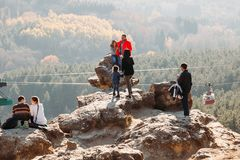 Kislovodsk, Stavropol Territory / Russia - November 4, 2018 : group of tourists on top of mountain royalty free stock image