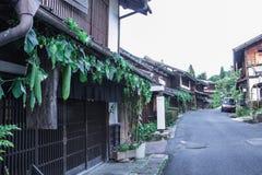 Kiso谷是老镇或日本传统木buil 免版税库存照片