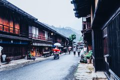 KISO VALLEY, JAPAN - June 10, 2018:Kiso valley is the old  town or Japanese traditional wooden houses for the travelers walking royalty free stock photography