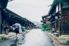 KISO VALLEY, JAPAN - June 10, 2018:Kiso valley is the old  town or Japanese traditional wooden houses for the travelers walking stock images
