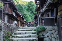 Kiso valley is the old town or Japanese traditional wooden buil royalty free stock photo