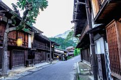Kiso valley is the old town or Japanese traditional wooden buil stock photography