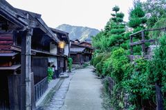 Kiso valley is the old  town or Japanese traditional wooden buil. Dings for the travelers walking at historic old street  in Narai-juku , Nagano Prefecture Royalty Free Stock Photo