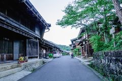 Kiso valley is the old town or Japanese traditional wooden buil stock image