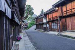 Kiso valley is the old town or Japanese traditional wooden building stock image