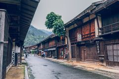 Kiso valley is the old town or Japanese traditional wooden houses for the travelers walking at historic old street in Narai-juku. Kiso valley is the old  town or royalty free stock photos