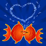 Kiss. Pair of fish that tenderly kissing beneath a heart bubbles, vector Royalty Free Stock Photo
