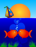 Kiss. A pair of fish lovers kissing on the seabed. Vector Stock Images