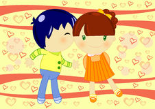 Kiss. Illustration of a little boy kissing a cute little girl on an abstract heart background Royalty Free Stock Photos