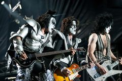 KISS. Gene Simonds,Tommy Thayer,Paul Stanley of the rock band KISS Royalty Free Stock Images