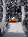 Kiss. On the red bench. Black-and-white background Royalty Free Stock Photography