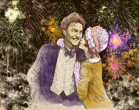 The kiss. Good luck kiss in front of the evening fireworks. Full-sized (original) hand drawing (useful for live trace converting for the  image - and others) Royalty Free Stock Image