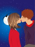 Kiss. Love girl and boy kiss in the moonlight Stock Photography