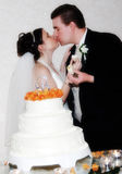 The Kiss. Bride and Groom kissing while holding a piece of cake in their hands after the cutting ceremony Royalty Free Stock Photography