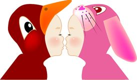 Kiss. Vector illustration for a boy kissing a girl with ducky and bunny costume Royalty Free Stock Photo