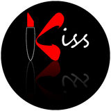 Kiss. Graphic logo with lips and lipstick (the K), ready for use or for easy customization Stock Photography