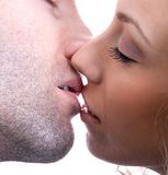 A kiss. Of a young couple have a kiss stock photos