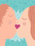 A kiss. Boyfriend and girlfriend kiss design Royalty Free Stock Images
