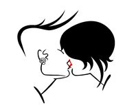 Kiss. Two emo crazy lovers kiss Vector Illustration