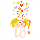 Kiss. The boy and the girl keep for hands and kiss, fly Hearts, smiles, flowers, stars Vector Illustration