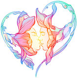 Kiss. Abstract image of a heart made of flowers with a kiss boy and a girl, white background, bright colors stock illustration