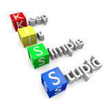 KISS acronym. Keep It Simple Stupid acronym, KISS text 3D concept rendering Stock Photo