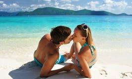 Kiss on a beach stock photos