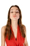 Kiss beautiful young woman Stock Photography