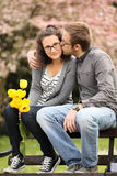 Kiss on a bench Stock Images