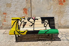 The kiss bench. Painted bench in Águeda, Portugal royalty free stock photo