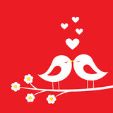 Kiss of birds - romantic card for Valentine`s day Stock Photo