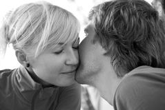 A kiss, black and white Royalty Free Stock Images