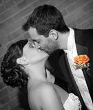 Kiss the Bride. A black and white photo with color accent of a bride and groom kissing after being pronounced man and wife royalty free stock photography