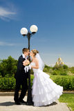 Kiss of bride and groom Stock Image