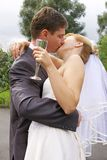 Kiss of a bride and a groom Royalty Free Stock Photo