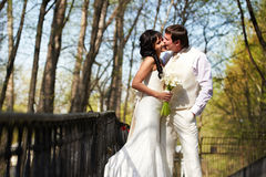 Kiss bride and groom in walking Stock Photography