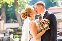Kiss the bride and groom. Wedding couple Stock Image