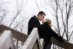 Kiss on a bridge Stock Photography