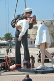 Kiss broken. Civitavecchia Rome Italy removing the statue of the kiss stock images