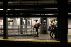 Kiss in Brooklyn Atlantic ave station royalty free stock images