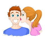 Kiss on the cheek. Beautiful young girl kisses a handsome boy on the cheek Stock Photography