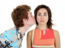 Kiss On the Cheek.  Royalty Free Stock Photo