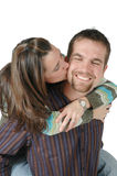 Kiss on the Cheek Royalty Free Stock Photography