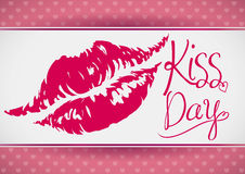 Kiss Day Banner with a Lips Mark, Vector Illustration royalty free stock photography